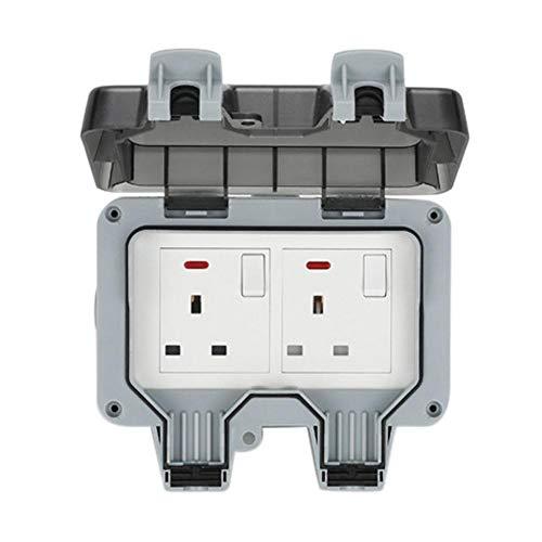 N/Y Zócalos al aire libre impermeable doble zócalo, enchufes eléctricos de pared, 13A pared al aire libre impermeable enchufe caja de zócalo, IP66 conmutado tapas