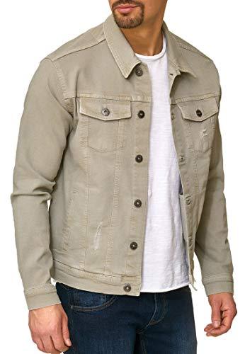 Indicode Herren Bryne Jeansjacke aus 98% Baumwolle   Moderne Jeans Jacke Herrenjacke Markenjacke Destroyed Washed Out Mens Denim Jacket Übergangsjacke Freizeitjacke für Männer Willow Grey XXL