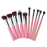 Juego de 10 brochas de maquillaje portátil para base, brocha para colorete, herramientas profesionales de belleza
