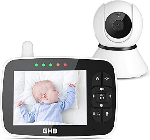GHB Baby Monitor 720P 3.5' Videocamera con IPS Schermo, Oscillazione 115°/355°, Visione Notturna a Infrarossi, con Sensore di Temperatura
