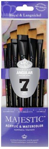 Majestic Royal and Langnickel Short Handle Paint Brush Set, Angular, 7-Piece