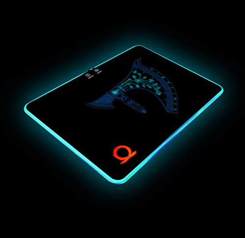 God of War RGB Gaming Mouse Pad Colorful LED Atmosphere Light Hard Surface with Personalized Luminous Pattern Gamer Gifts W14 X H10 (350 X 250 mm)
