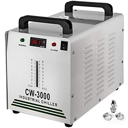 VEVOR Water Chiller CW-3000 Industrial Chiller 9L Thermolysis Type Water Chiller 50W/? 0.9A Current Recirculating Chiller for 60W 80W Laser Engraving Machine Cooling Machine 110V