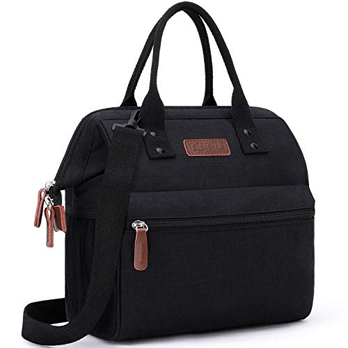 Insulated Lunch Bag, Wide-Open Lunch Box for Work/Picnic/Hiking/Beach/Fishing, Water-Resistant Leakproof Lunch Tote Bag for Women and Men (Black+Shoulder Strap)