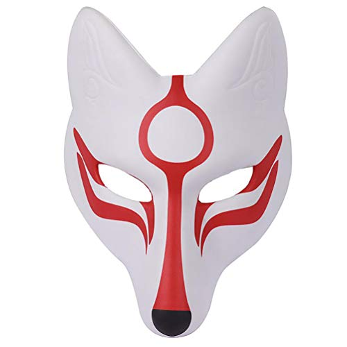 AMOSFUN Fox Mask Japanese Kabuki Kitsune Masks for Men Women Children Halloween Masquerade Costume Prop, White+red, Medium