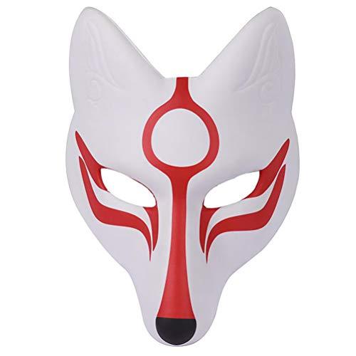 AMOSFUN Máscara de Zorro japonés Kabuki Kitsune máscaras