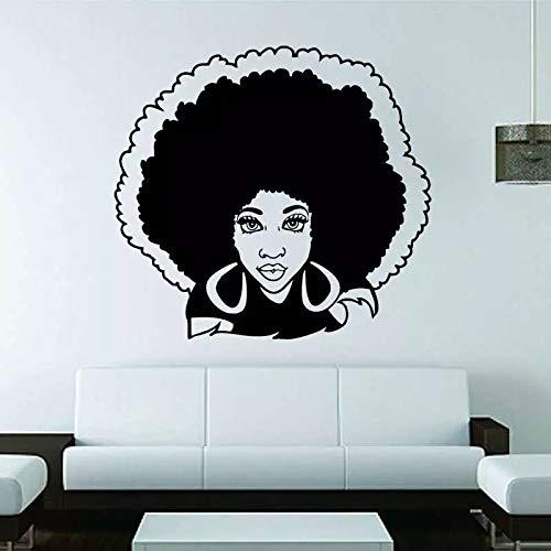 Mujer africana chica sexy salón de belleza africano peluquería spa vinilo decoración de la pared arte