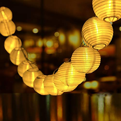 Solar Lichterkette Aussen Lampions, Qxmcov 9.3Meter 50 LED Laternen 8 Modi Wasserdicht Solar Lichterkette Auße Beleuchtung für Hochzeit, Garten, Hof, Terrasse, Fest Deko (Warmweiß)