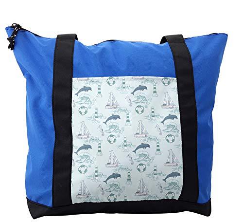 Lunarable Nautical Shoulder Bag, Aquatic Elements Dolphin, Durable with Zipper