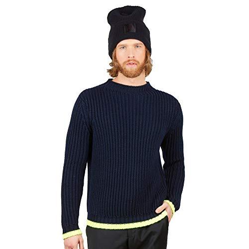 Maglione Pullover Girocollo Uomo in 100% Lana Merino Colore Blu Navy Taglia L