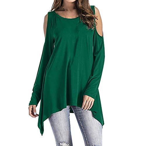 AMUSTER Damen Schulterfrei Bluse Cut Out Loose Fit Top T-Shirt Mode Frauen Langarm O-Ausschnitt Kalte Schulter Swing Asymmetrische Tunika Tops