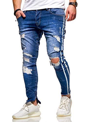 Rello & Reese Herren Jeans Striped Skinny Hose JN-4069 [Blau, W30/L32]