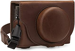 MegaGear MG1731 Ever Ready Leather Camera Case Compatible with Sony Cyber-Shot DSC-RX100 VII - Dark Brown