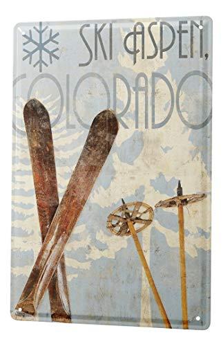 LEotiE SINCE 2004 Cartel Letrero de Chapa Retro Deco Bastones de esquí de Aspen Colorado