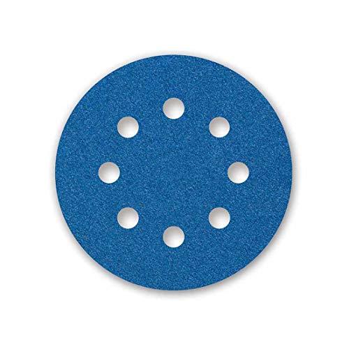 MENZER Blue Klett-Schleifscheiben, 125 mm, 8-Loch, Korn 40, f. Exzenterschleifer, Zirkonkorund (25 Stk.)