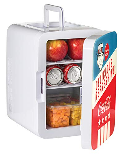 Coca-Cola K10LGA Mini Fridge Americana Retro (10 Liter/12 Can) Portable AC/DC Powered Cooler and Warmer