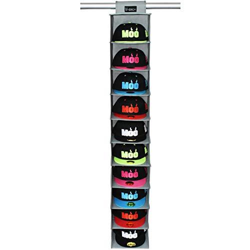 VAESIDA Hutablage & Baseball Kappen-Halter – 10 Regale, hängender Schrank für Baseballhut-Aufbewahrung – Hut-Organizer geeignet für alle Arten von Hüten