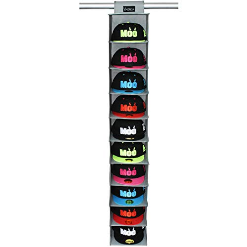 VAESIDA Hat Rack Hanging Closet - 10 Shelf Hanging Hats Organizer for Hat Storage - Best Hat Rack &...