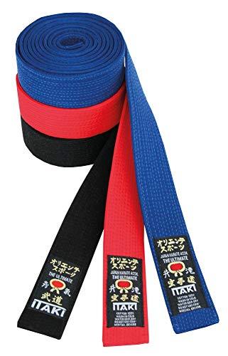 Itaki Cintura Professionale Arti Marziali e Sport da Combattimento - Cover in Cotone - Colori: Nero, Blu, Rosso - Judo, Aikido, Karate, Ju Jitsu, Kickboxing, Taekwondo