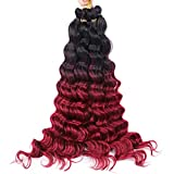 Deep Wave 12Strands/Pack 1 Pack/Lot Synthetic Braiding Crochet Braids Hair Burgundy Color Bulk Hair Extensions Black Wine red 22inches