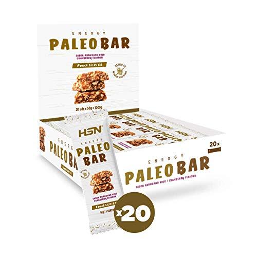 Energy Paleo Bar de HSN | Barritas Paleo | Ingredientes 100% Naturales, Sustitutivas de Comida, Sin Grasas Trans, Sin Aceite de Palma, Sabor Arándano - 20 unidades de 50g