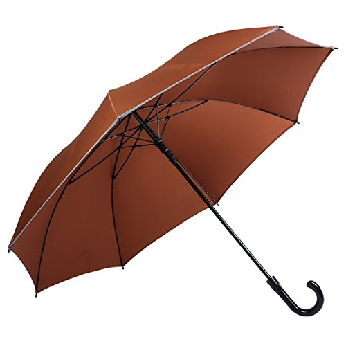 HOSHI AUTO Open Coffee Brown Reflective Stripe in Grey, Golf Umbrella