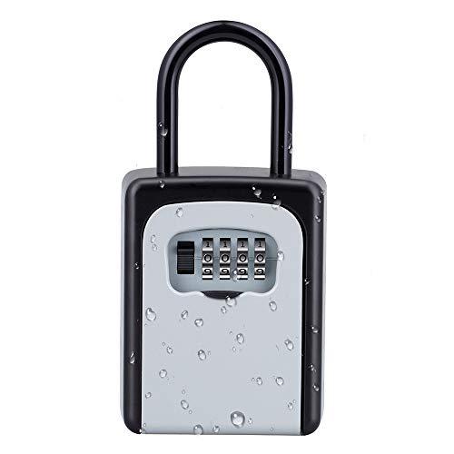 ZHEGE Schlüsseltresor Zahlencode [INSTALLATIONSFREI] 4-Stellig Zahlenkombination Schlüsselbox mit Bügel Aussen, Klein Schlüsselkasten Wetterfeste für Hausschlüssel Versteck, AirBnB,Silber