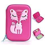 Mignon zorro EVA bolsa a Stylos Plumier Estuche de lápices estuche escolar grande capacidad bolsa de lápiz multifunción bolsa de maquillaje regalo para los niños niñas, color rosa rojo