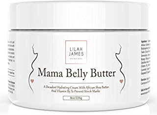 Mama Belly Butter 8oz- Organic Decadent Cream Prevents & Reduces Stretch Marks, Relieves Itching, And Hydrates Skin During Pregnancy by Lilah James Skincare