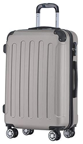 BEIBYE Hartschalen-Koffer Trolley Rollkoffer Reisekoffer Handgepäck 4 Rollen (M-L-XL-Set) (Champagner, L)