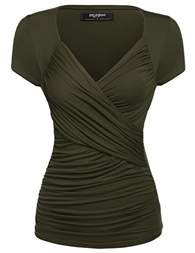 Zeagoo Women's Cross-front V Neck Ruched Cap Sleeve Blouse, XX-Large, Dark Green