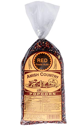 Amish Country Popcorn | 1 lb Bag | Red Popcorn Kernels | Old Fashioned with Recipe Guide (Red - 1 lb Bag)