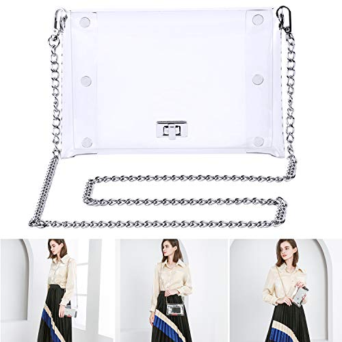 MOETYANG Transparent Clutch Clear Purse Crossbody Shoulder Bags PGA Stadium Approved Bags