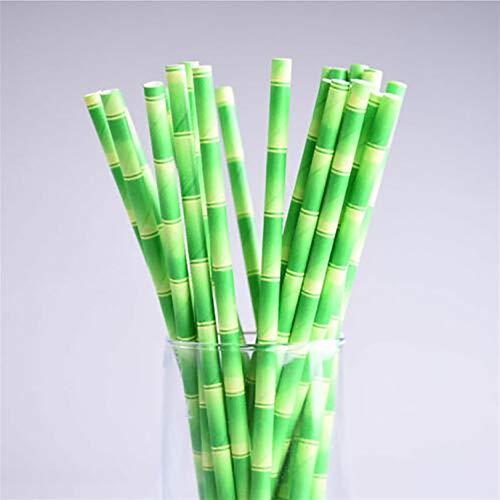 GUYAQ 25 Stück Party Papierstrohhalme Umweltfreundliche Trinkhalme Grüne Bambusstrohhalme Cocktailkuchen Dekoration Trinkhalme Partyzubehör