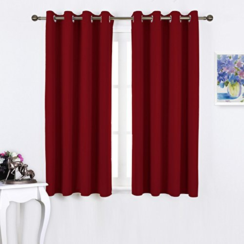 NICETOWN Burgundy Blackout Curtains Grommet - Thermal Insulated Solid Grommet Blackout Curtains/Panels / Drapes for Livingroom (2-Pack, 52 by 45-Inch, Burgundy Red)