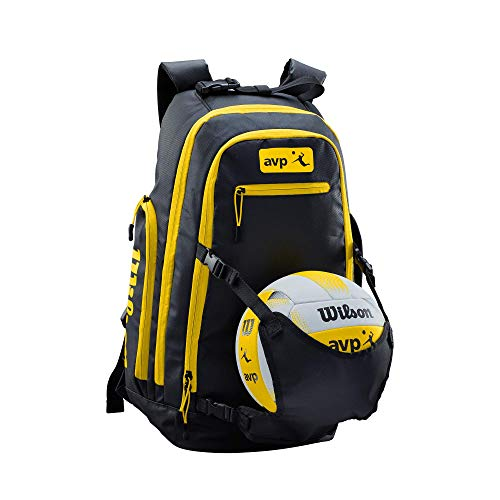 Wilson Unisex-Adult AVP BACKPACK YE Volleyball, BLACK/YELLOW, Uni