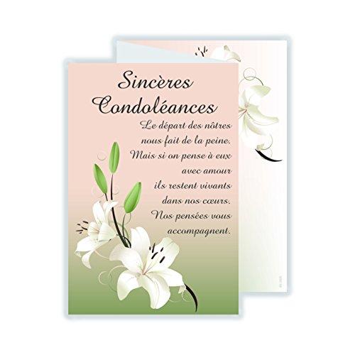 afie 69-3925 Carte 3 Volets Sincères Condoléances avec enveloppe