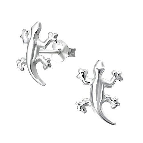 Small Gecko Lizard Gift Stud Earrings - Sterling Silver