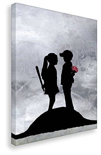 Kunstbruder Leinwandbild von Banksy Boy and Girl/Kunstdruck auf Leinwand/Wandbild Bild Graffiti Street-Art (40x60cm)