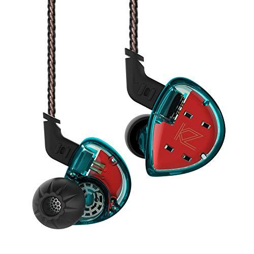 KZ ES4 Auriculares Dual Drivers Auriculares intrauditivos Auriculares Kiny Auriculares estéreo de Alta fidelidad Kiny Auriculares con Cable Desmontable (Azul sin micrófono)