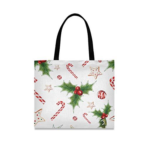 DOSHINE - Bolsa de lona, diseño de bastón de caramelo navideño con estrella de acebo, reutilizable, para la escuela, para la escuela, para mujeres, señoras y niñas