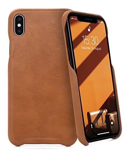 MyGadget Custodia per Apple iPhone X/XS - Cover in Pelle Finta - Case Resistente - Protezione Antiurto e Antigraffio - Back Cover Slim in Marrone
