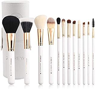 Zoreya Travel Makeup Brush Set White 12pcs Makeup Brushes Premium Synthetic Hair Professional Foundation Powder Contour Blush Cosmetic Eye Brush Sets With Holder For Mother's Day Gifts