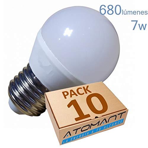 Pack 10x Bombilla LED G45 7w, Color blanco Calido (3000k). Rosca gruesa E27. 680 Lumenes equivalentes a 75w tradicional.