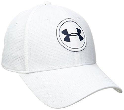 Under Armour Men's Jordan Spieth Tour Golf Hat, White (100)/Academy Blue, Medium/Large