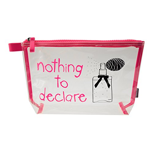 Incidence Paris 61629 Trousse de toilette Nothing to declare Parfum Transparent et rose Fermeture zip PVC et nylon, 31 cm, Transparent