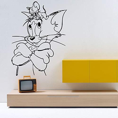 mlpnko Cartoon Katz und Maus Wandtattoo Cartoon niedlichen Muster Kunst Vinyl Aufkleber Kinderzimmer Dekoration,CJX11191-63x83cm