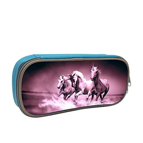 Lawenp Kids Pink Horse Pony Courser Estuche para lápices suave de gran capacidad con cremallera para niños y niñas Azul