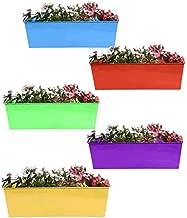Gadgets Appliances Wonderful Colour Rectangular Design, Railing Planter, Flower Pot, Wall Planter, Metal Planter, Balcony, Garden Planter Basket Multicolour (Pack of 5)