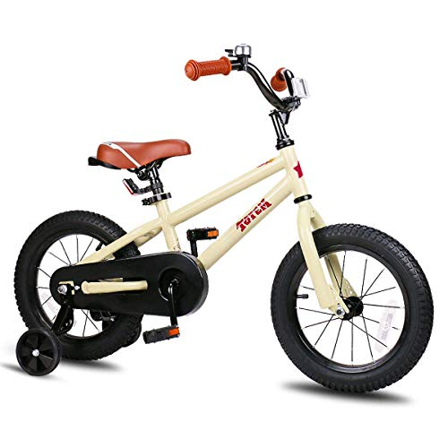 JOYSTAR 14 Inch Kids Bike for 3 4 5 Years Boys Girls Gifts Unisex Child Bicycles with Training Wheel BMX Style 85% Assembled Beige